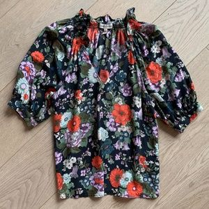 Rebecca Taylor | Hammered Silk Floral Top